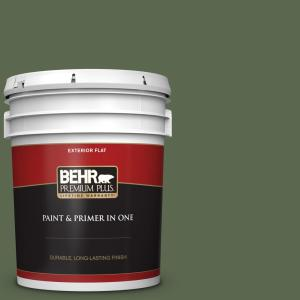 Behr Premium Plus 5 Gal Icc 87 Rosemary Sprig Flat Exterior Paint And Primer In One 430005 The Home Depot