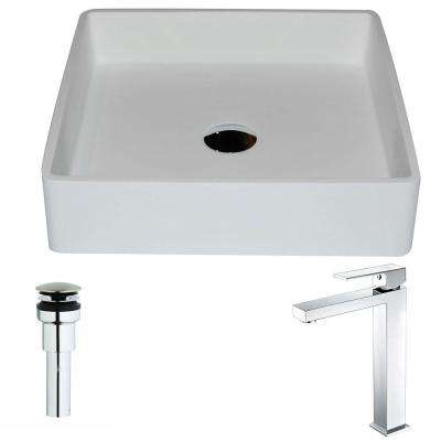 Passage Series 1-Piece Man Made Stone Vessel Sink in Matte White with Enti Faucet in Polished Chrome