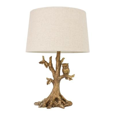 Owl 27.75 in. Gold Table Lamp with Linen Shade