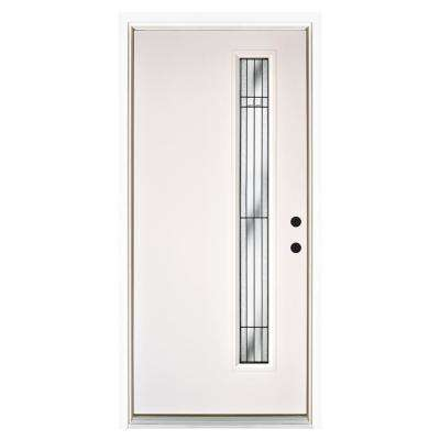 36 in. x 80 in. Radiant Smooth White Left-Hand Inswing Narrow 1 Lite Decorative Fiberglass Prehung Front Door