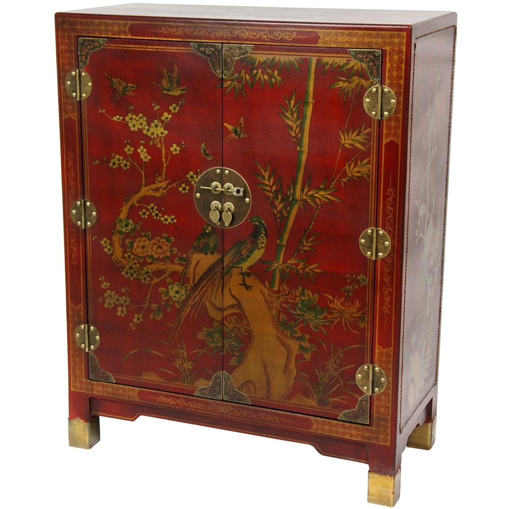 Oriental Furniture Red Lacquer Nestling Birds Cabinet-LQ ...