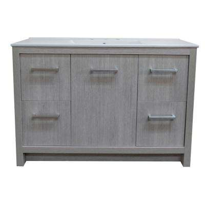 48 in. W x 18 in. D x 33.5 H Single Vanity in Gray Pine with Ceramic Vanity Top in White with White Basin