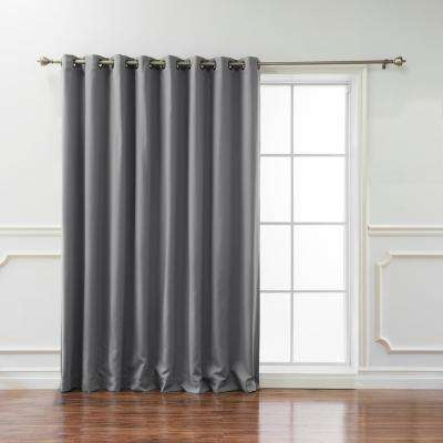 Wide Basic 100 in. W x 108 in. L Blackout Curtain in Grey