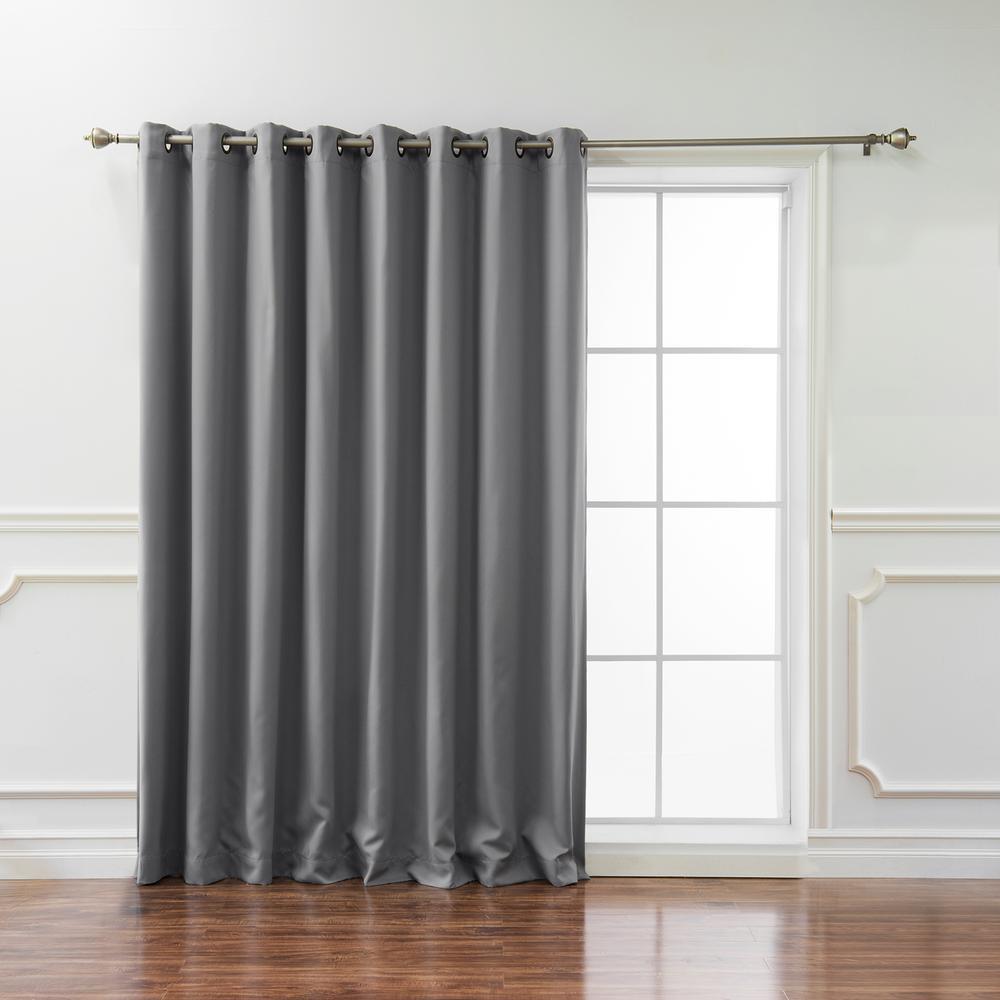 Wide Basic 100 in. W x 96 in. L Blackout Curtain in Grey