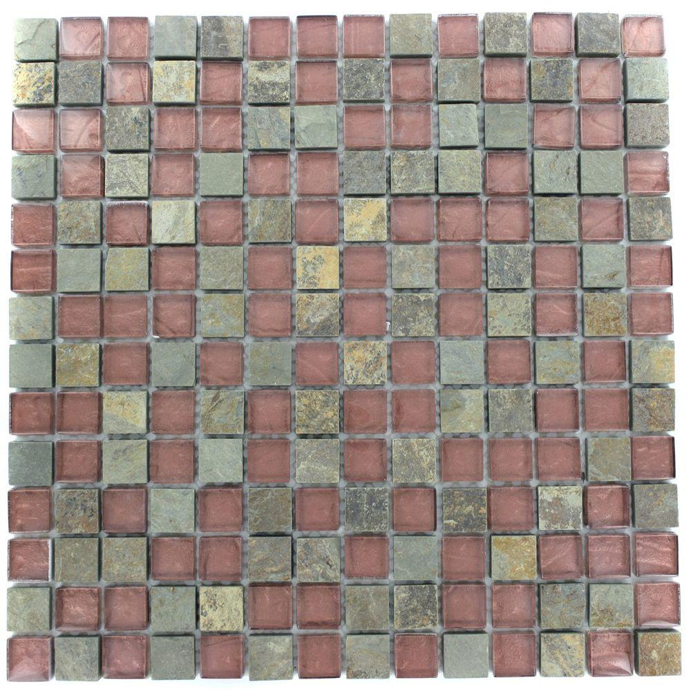 Splashback Tile Tectonic Squares Multicolor Slate and Rust 12 in. x 12 in. x 8 mm Glass Mosaic Floor and Wall Tile