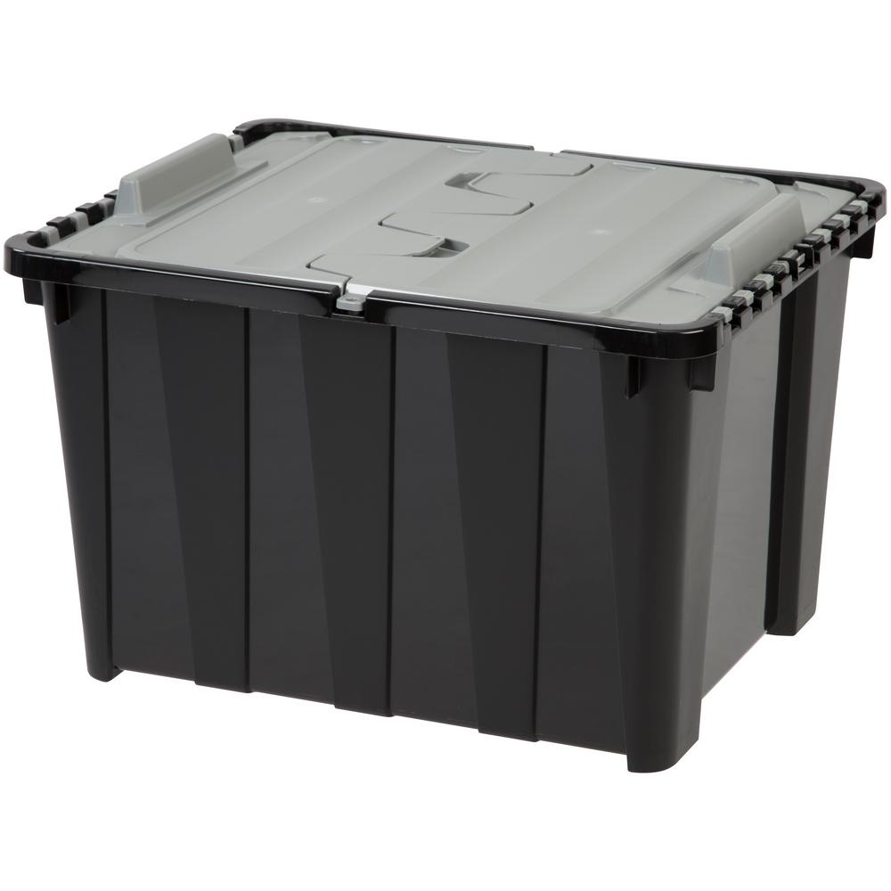 Delicieux IRIS 48 Qt. Wing Lid Storage Tote In Black