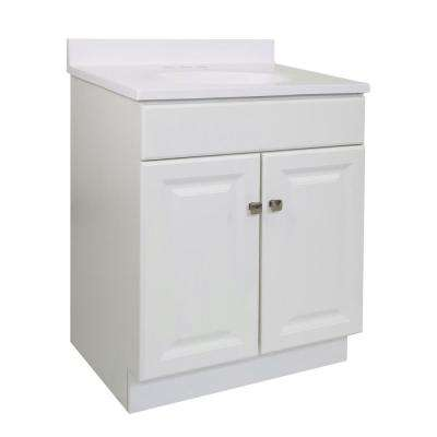 Wyndham RTA 24 in. x 18 in. x 33 in. 2-Door Bath Vanity in White w/ 4 in. Centerset Solid White CM Vanity Top w/ Basin