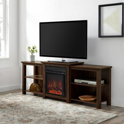 70 in. Dark Walnut Composite TV Stand Fits TVs Up to 78 in. with Electric Fireplace