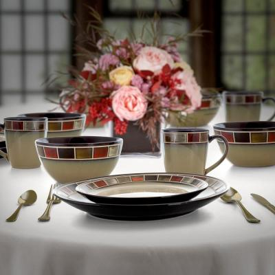 Casa Roja 16-Piece Modern Red Stoneware Dinnerware Set (Service for 4)