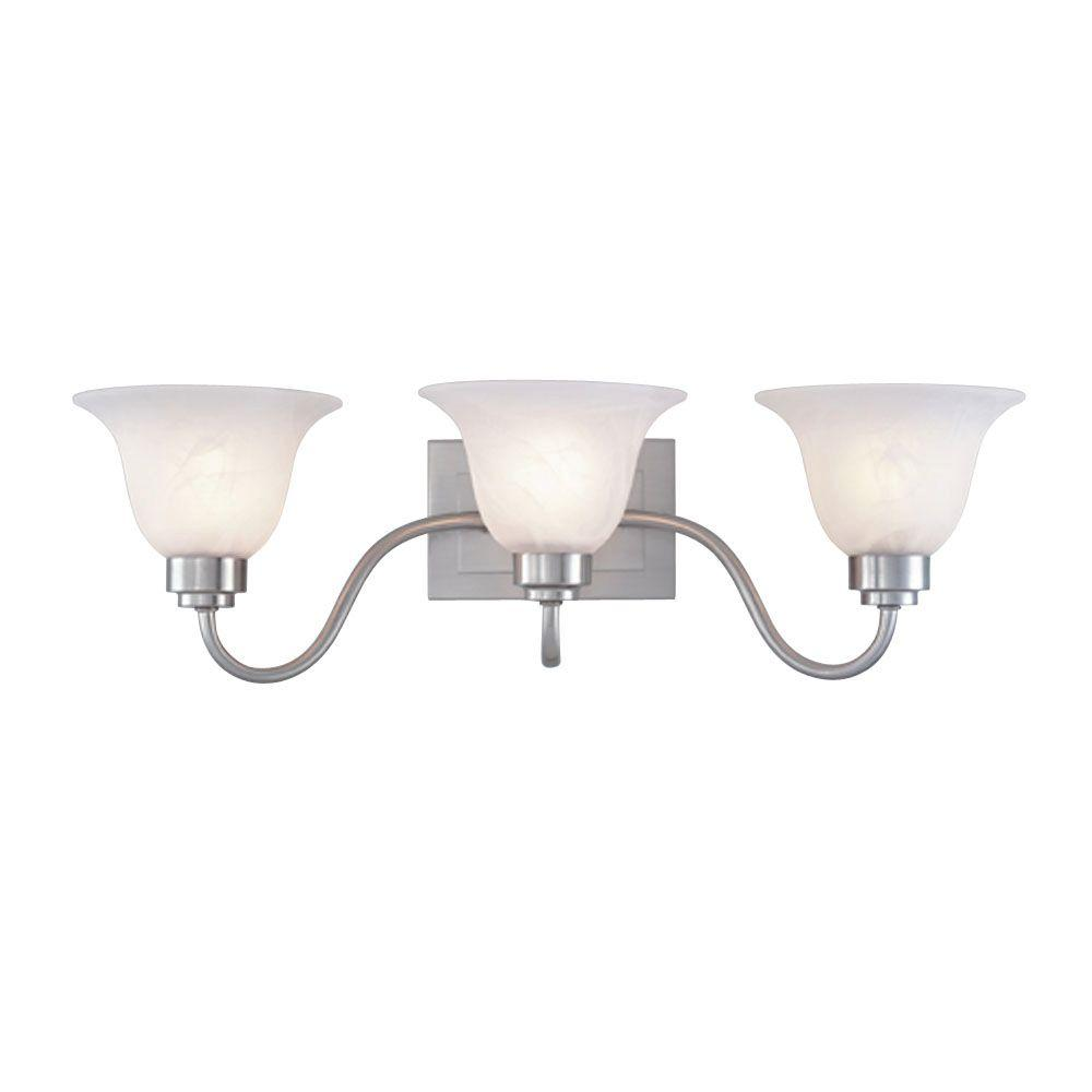 3-Light Brushed Nickel Interior Wall Fixture with Frosted White Alabaster Glass