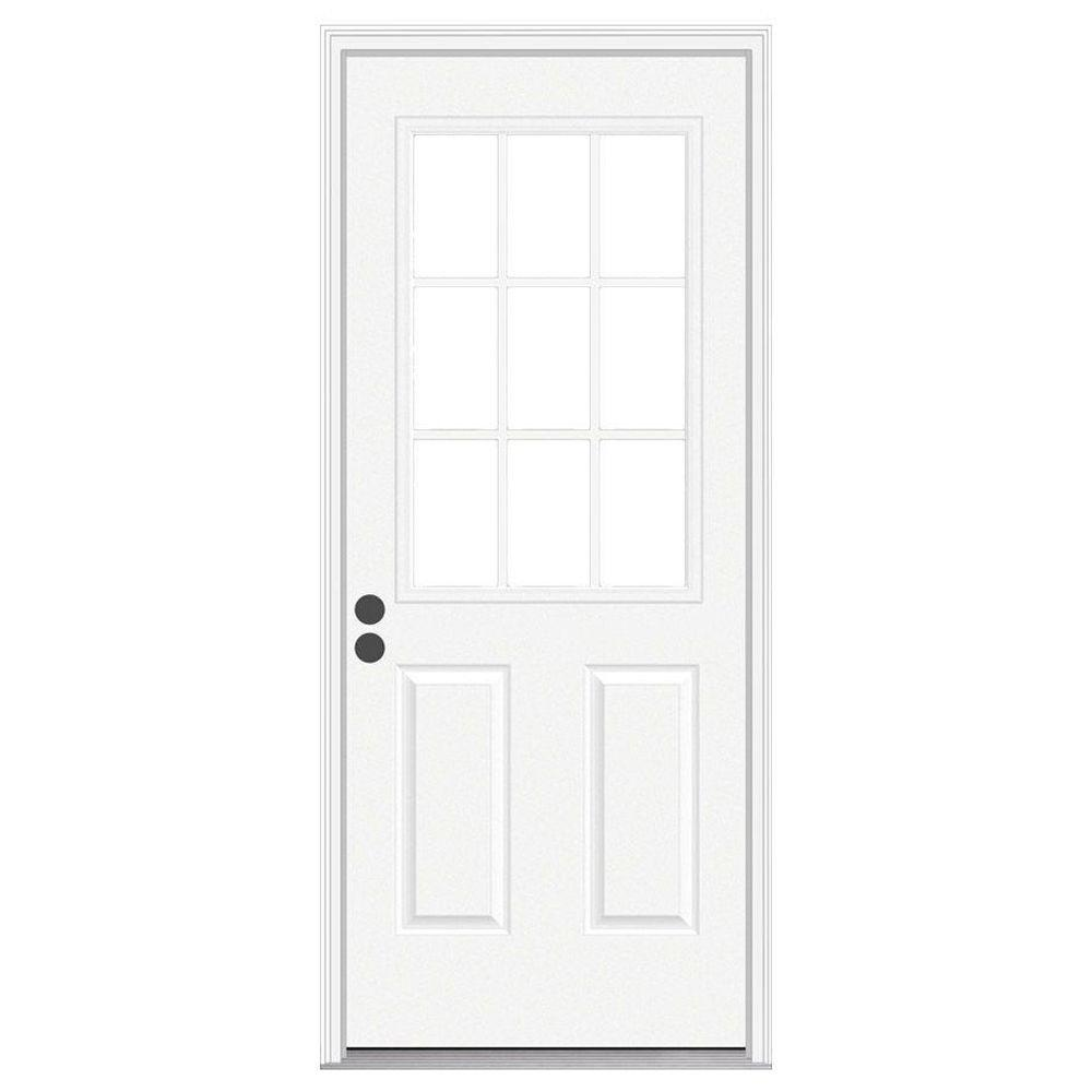 null 32 in. x 80 in. 9 Lite Primed Steel Prehung Right-Hand Inswing Front Door w/Brickmould