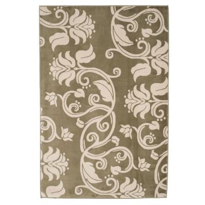 Floral Scroll Green 8 ft. x 10 ft. Area Rug