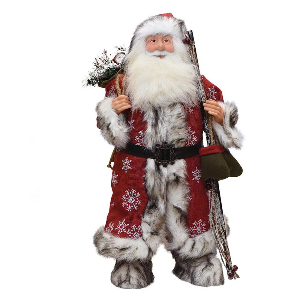 24 in. Standing Snowflake Santa Claus Christmas Figure with Mittens and