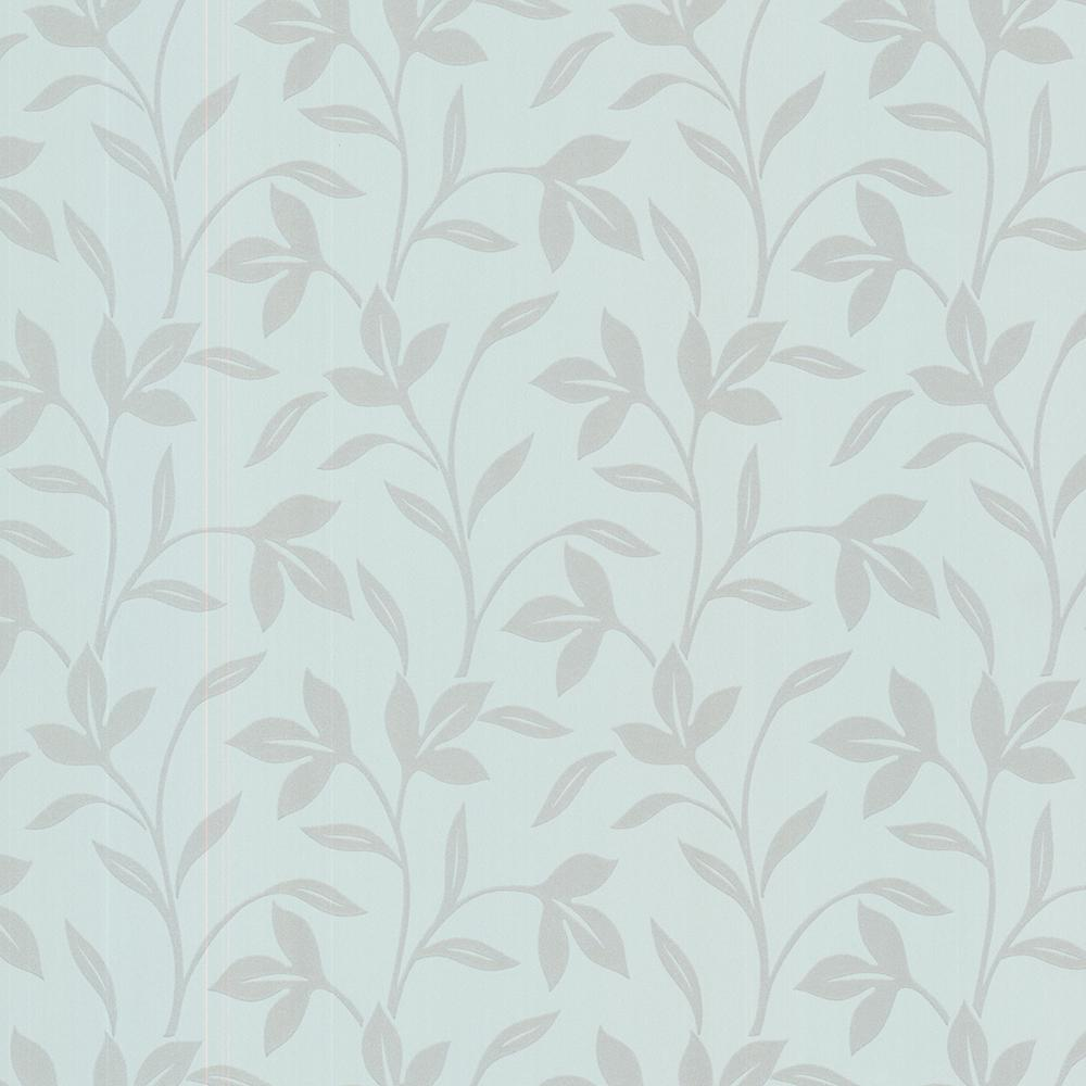 56.4 sq. ft. Cynthia Blue Tonal Leaf Trail Wallpaper