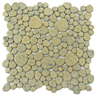 Pebble Green Moss 11 in. x 11 in. x 6 mm Porcelain Mosaic Tile (8.4 sq. ft. / case)