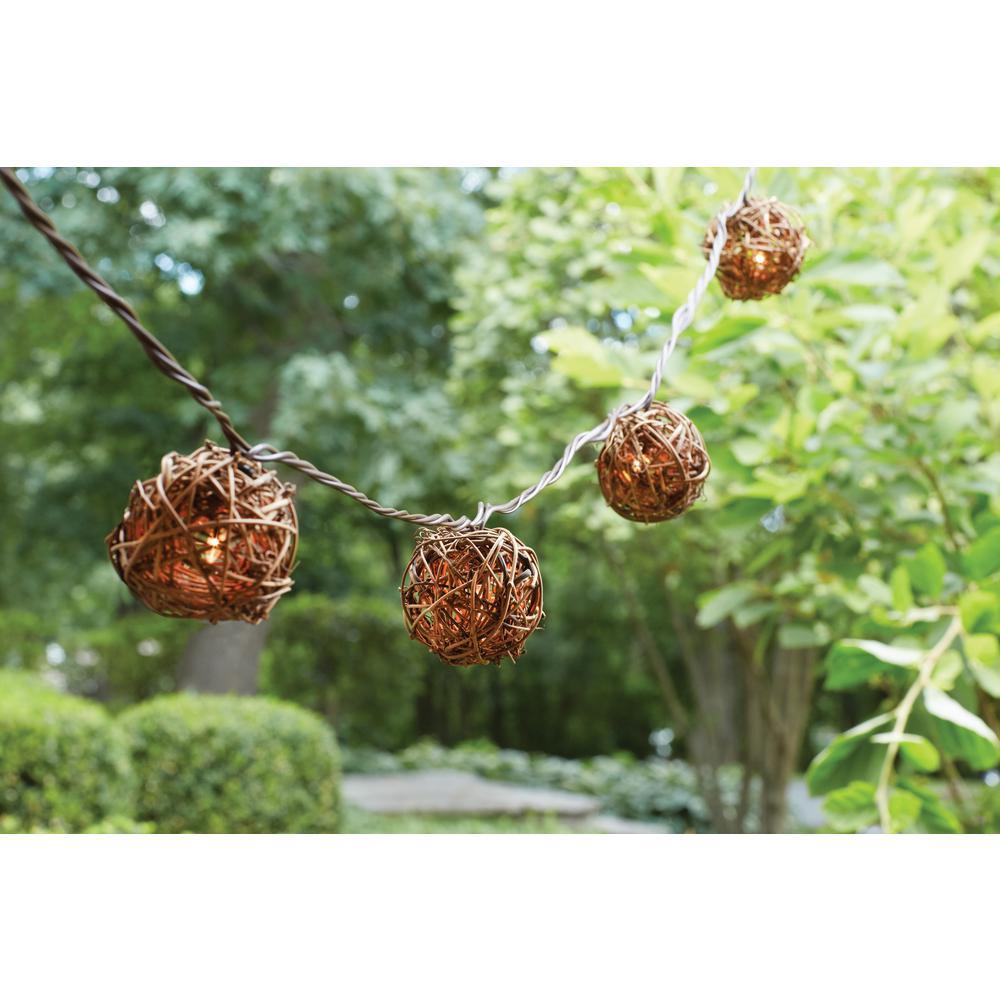 10-Light Natural Rattan Ball String Lights