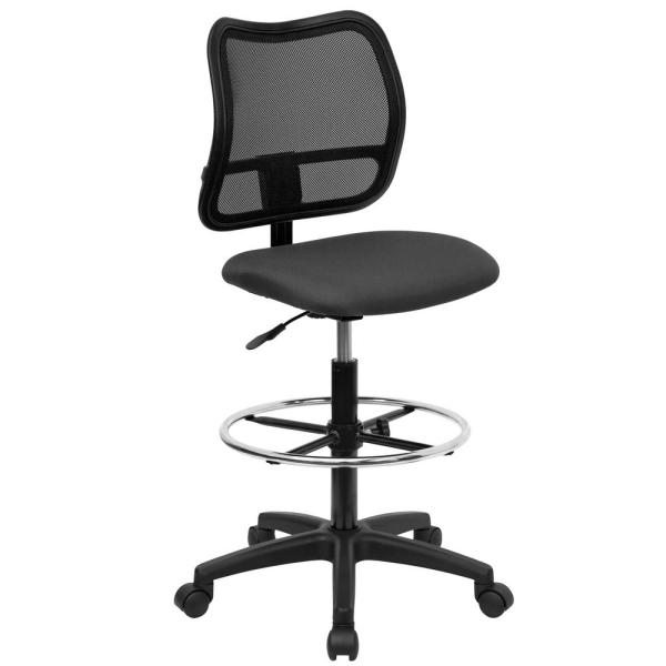 Flash Furniture Mid-Back Mesh Drafting Chair with Gray Fabric Seat WLA277GYD