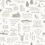 North Hills Off-White Camping Quotes Off-White Wallpaper Sample