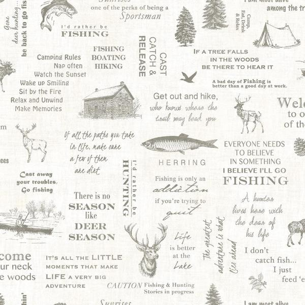 8 in. x 10 in. North Hills Off-White Camping Quotes Wallpaper Sample