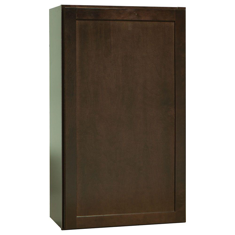 Shaker Assembled 21x36x12 in. Wall Kitchen Cabinet in Java