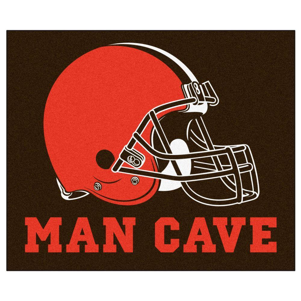 Fanmats Cleveland Browns Orange Man Cave 5 Ft X 6 Ft