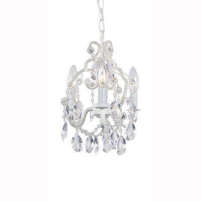 White crystal chandeliers lighting the home depot 3 light white mini chandelier with crystal drops and crystal bead strands aloadofball Image collections