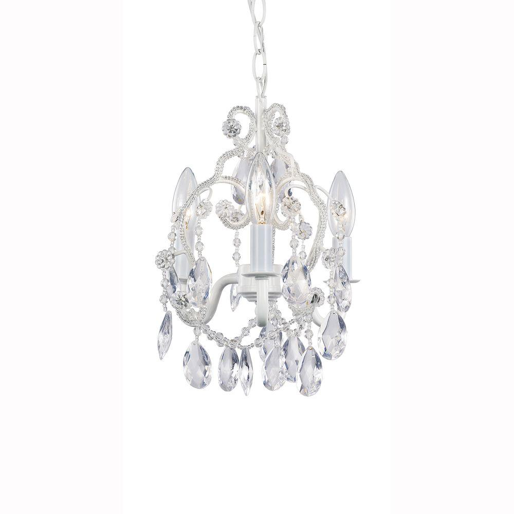 3 Light White Mini Chandelier With Crystal Drops And Bead Strands