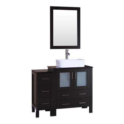 42 in. W Single Bath Vanity with Tempered Glass Vanity Top in Black with White Basin and Mirror