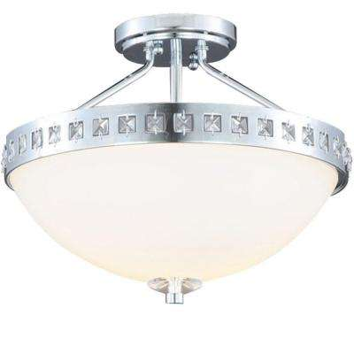 13.6 in. 2-Light Polished Chrome Semi-Flushmount with Frosted Glass Shade