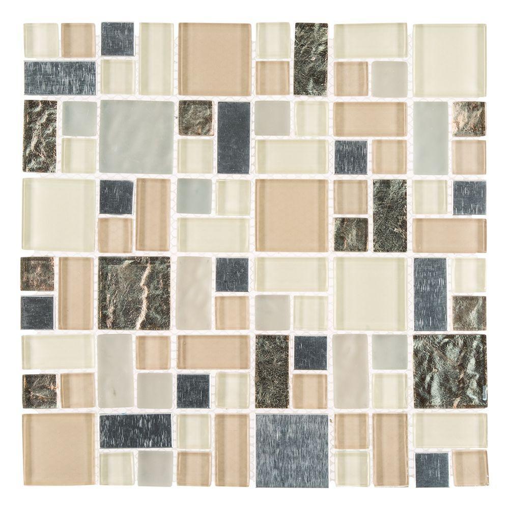 Royal Glaze Beige/Cream 11.875 x 11.875 x 8 mm Glass/Metal Mosaic Tile