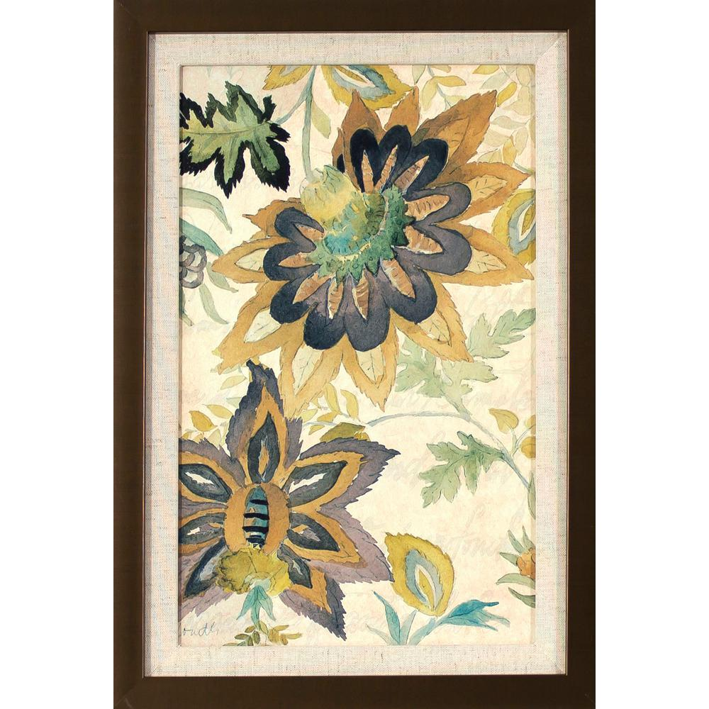 Decor Therapy 18.5 in. x 12.5 in. Damask Florals Printed Framed Wall ...