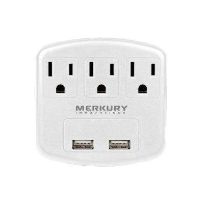 3 AC Outlet and 2-USB Port 2.1-Amp Power Charging Station - White