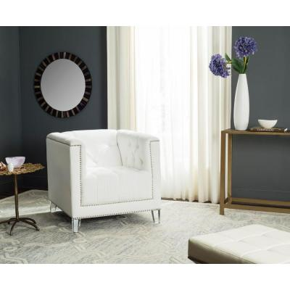 Hollywood Glam White/Clear Cotton Club Arm Chair