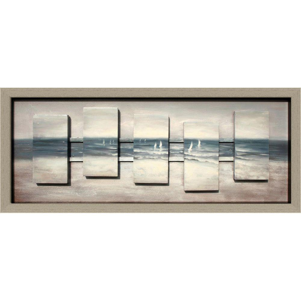 Yosemite Home Decor 16 in. x 45 in. Grey Sails Hand Painted Contemporary Artwork