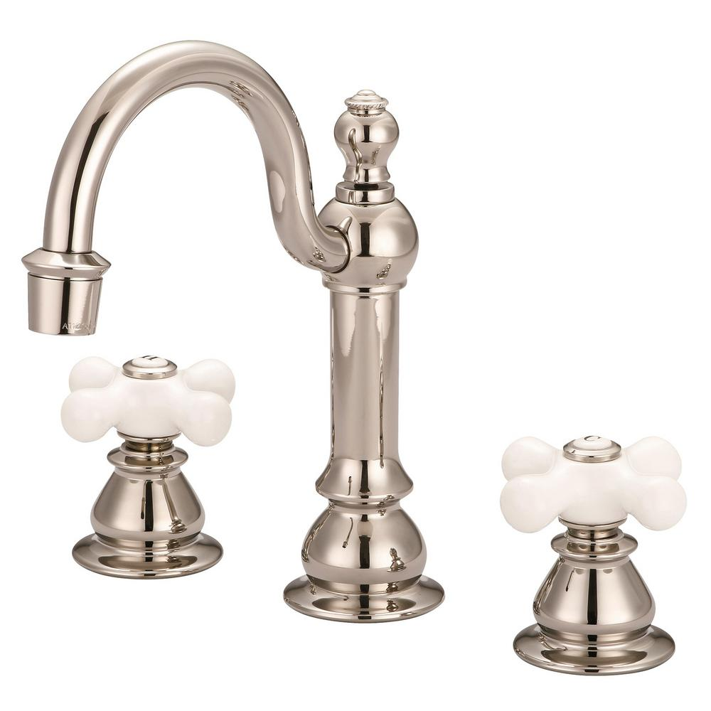 Water Creation Vintage Classic 8 in. Widespread 2-Handle High Arc Bathroom Faucet with Pop Up Drain in Polished Nickel