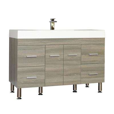 The Modern 47 in. W x 19.5 in. D Bath Vanity in Gray with Acrylic Vanity Top in White with White Basin