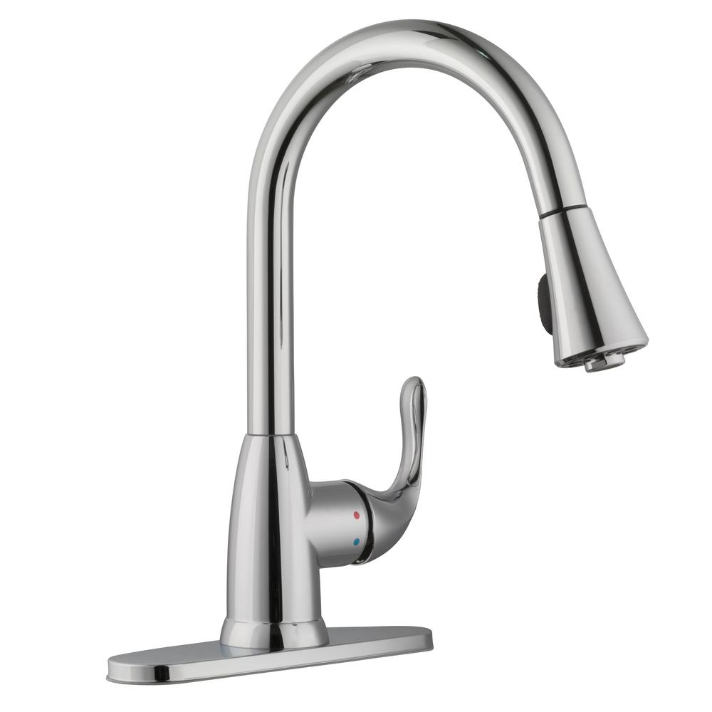 Glacier Bay Market Single Handle Pull Down Sprayer Kitchen Faucet In Polished Chrome Hd67551