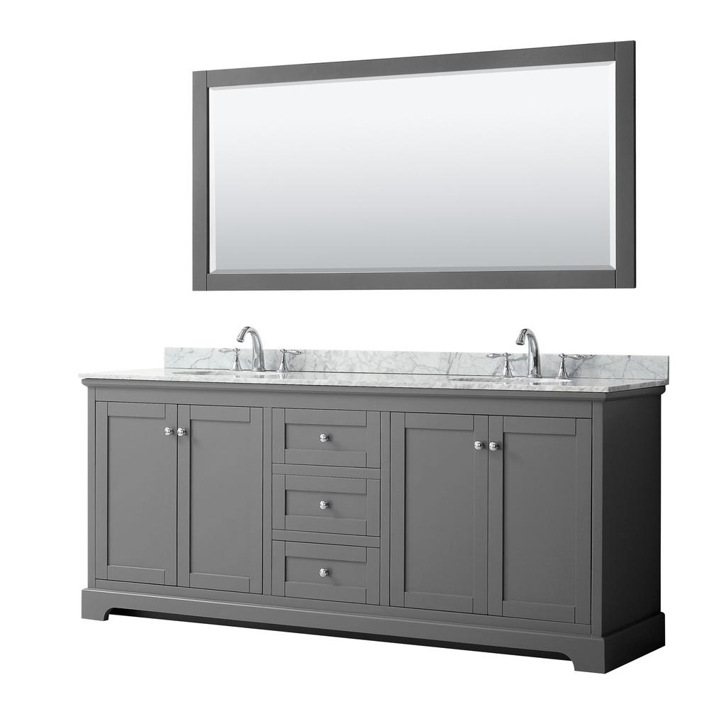 Wyndham Collection Avery 80 in. W x 22 in. D Bath Vanity in Dark Gray with Marble Vanity Top in White Carrara with White Basins and Mirror