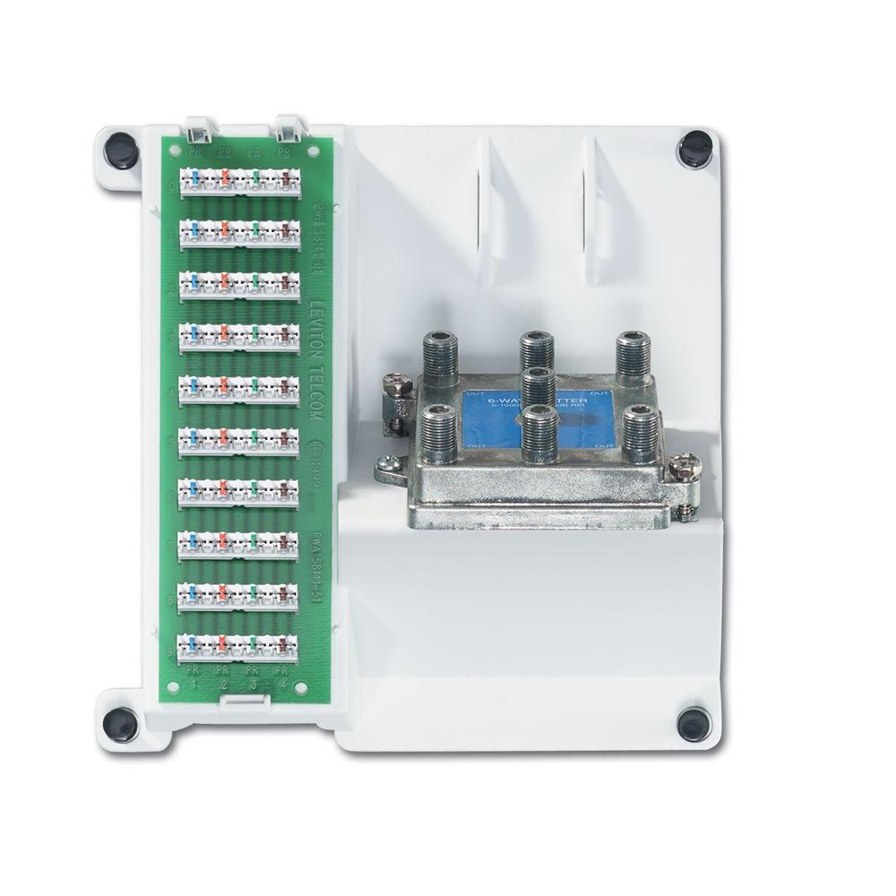 Leviton Compact Series Telephone and 6-Way Video Cabling Panel-DISCONTINUED