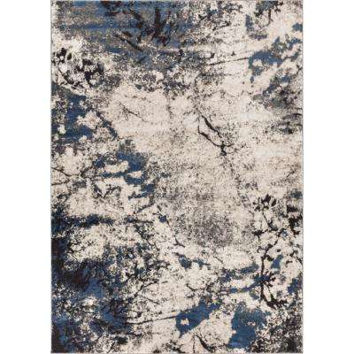 Luxury Supurasshu Blue 5 ft. x 7 ft. Modern Industrial Marbel Water Color Area Rug