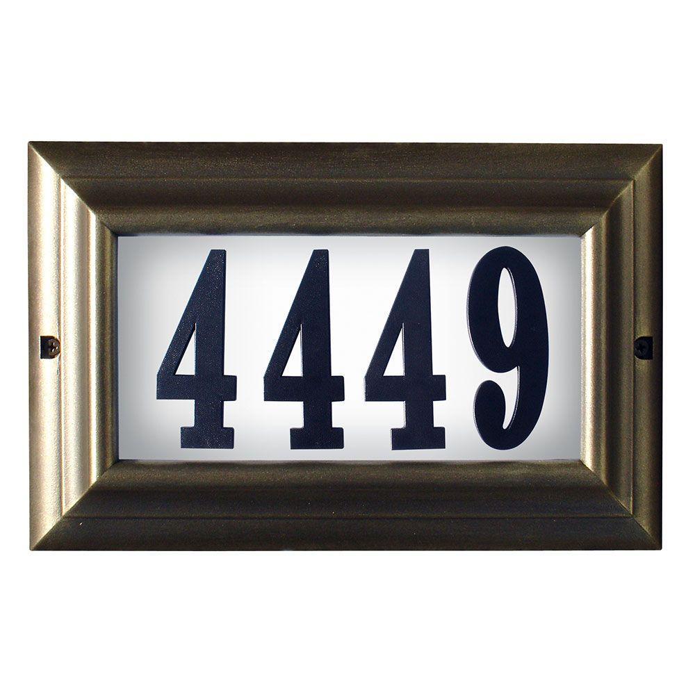 Qualarc edgewood large aluminum lighted address plaque