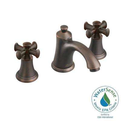 8 in. Widespread 2-Handle Mid-Arc Bathroom Faucet in Oil Rubbed Bronze with Speed Connect Drain and Cross Handles