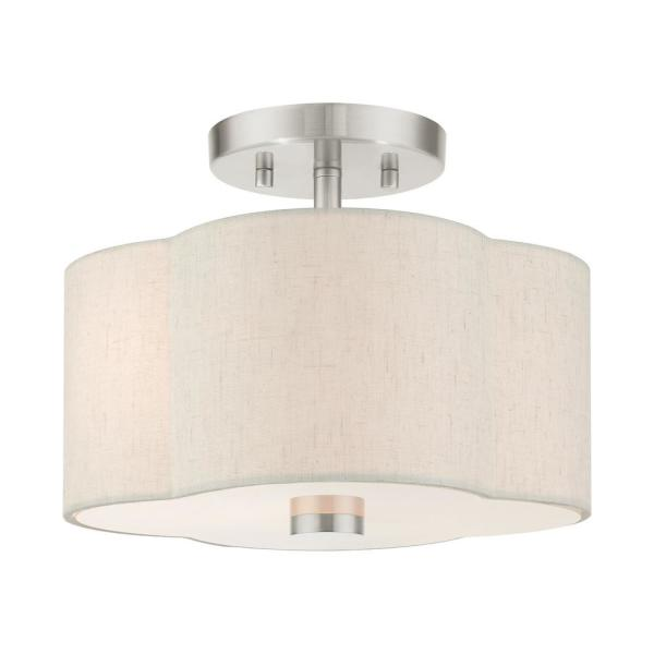 Solstice 11 in. 2-Light Brushed Nickel Semi-Flush Mount