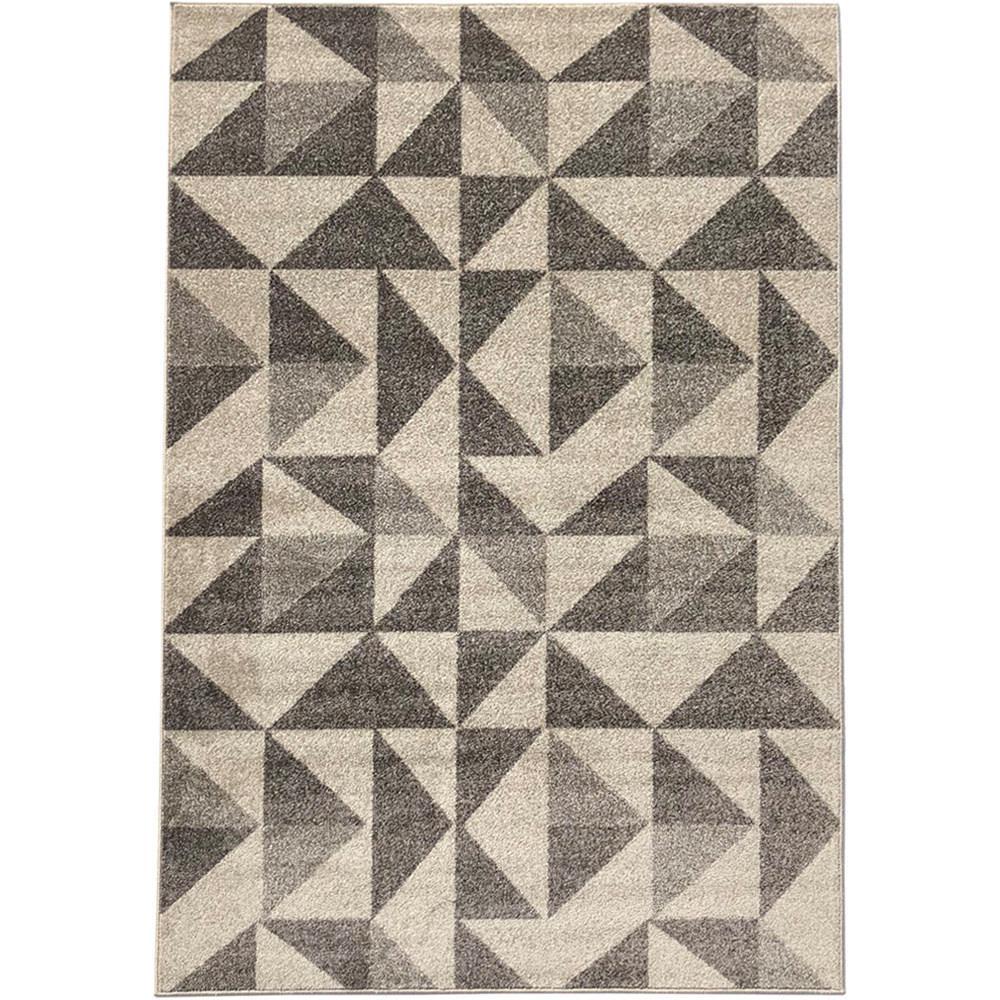 Pyramid Decor Ivory/Grey 2 ft. x 5 ft. Modern Geometric Pattern Area Rug