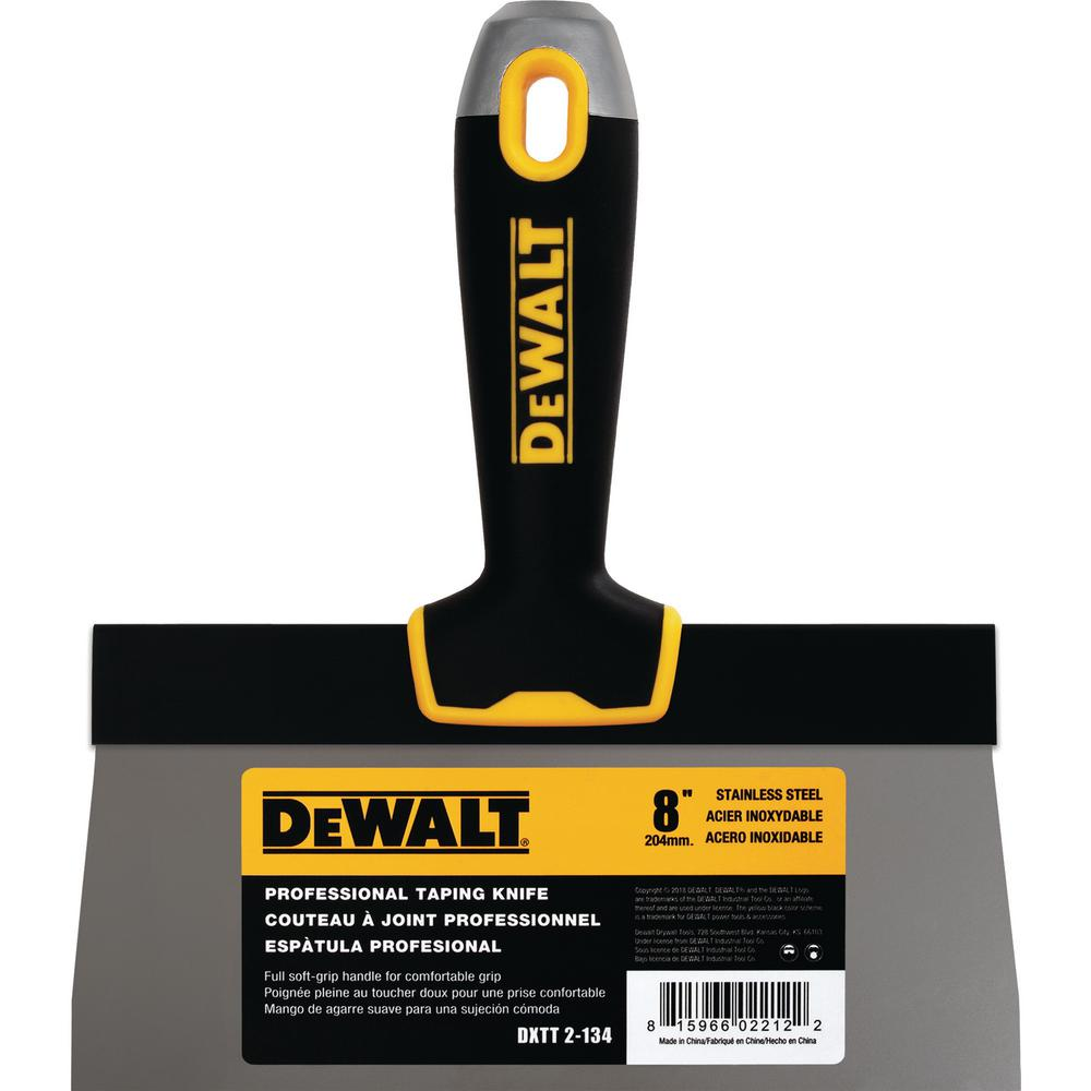 DEWALT 8 in. Stainless Steel Hammer-End Taping Knife with Soft Grip Handle