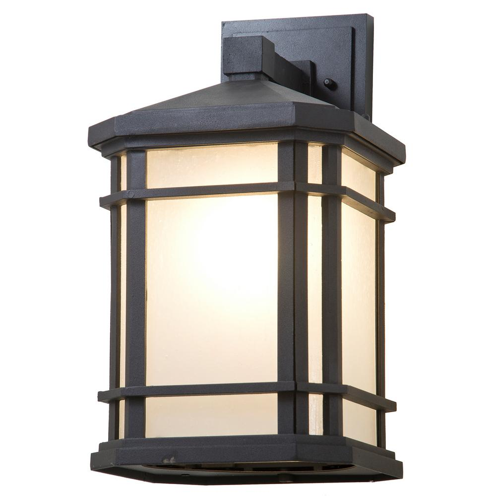 Filament design aaliyah 1 light black outdoor wall mount sconce cli dv044693 the home depot for Black exterior sconce
