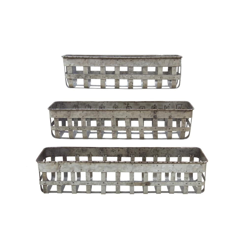 3R Studios 24-1/2 in., 20 in. and 16 in. L Iron Open Weave Baskets (Set of 3)