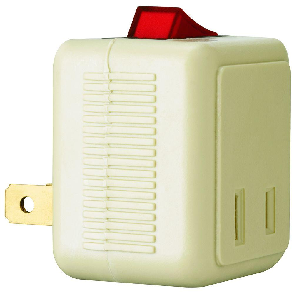 Pass & Seymour 15 Amp 120-Volt 1-Outlet Plug-In Switch Adapter - Ivory-DISCONTINUED