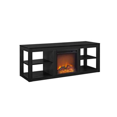 Nelson 65 in. Black TV Stand Console with Fireplace
