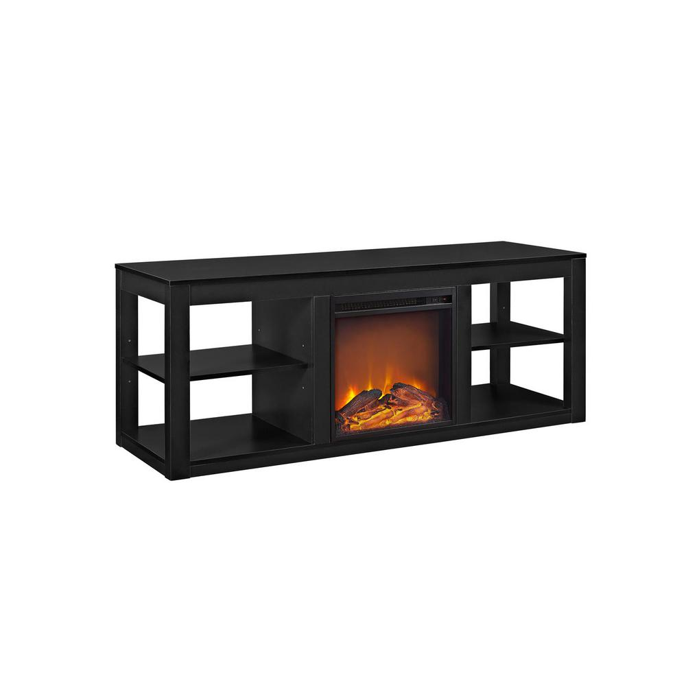 ameriwood nelson 65 in black tv stand console with fireplace hd09213 the home depot. Black Bedroom Furniture Sets. Home Design Ideas
